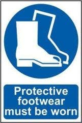 Protective Footwear Safety Sign PVC Self Adhesive 200x300mm