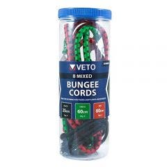 Veto BUNMIX8 Mixed Bungee Cords 25/60/80cm 8 Pack
