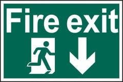 Fire Exit Running Man Down Sign PVC Self Adhesive 300x200mm