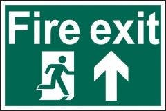 Fire Exit Running Man Up Sign PVC Self Adhesive 300x200mm